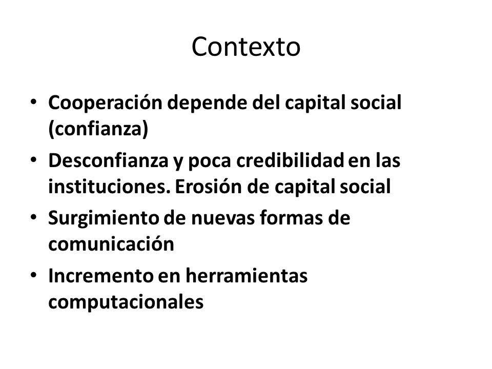 Contexto Cooperación depende del capital social (confianza)