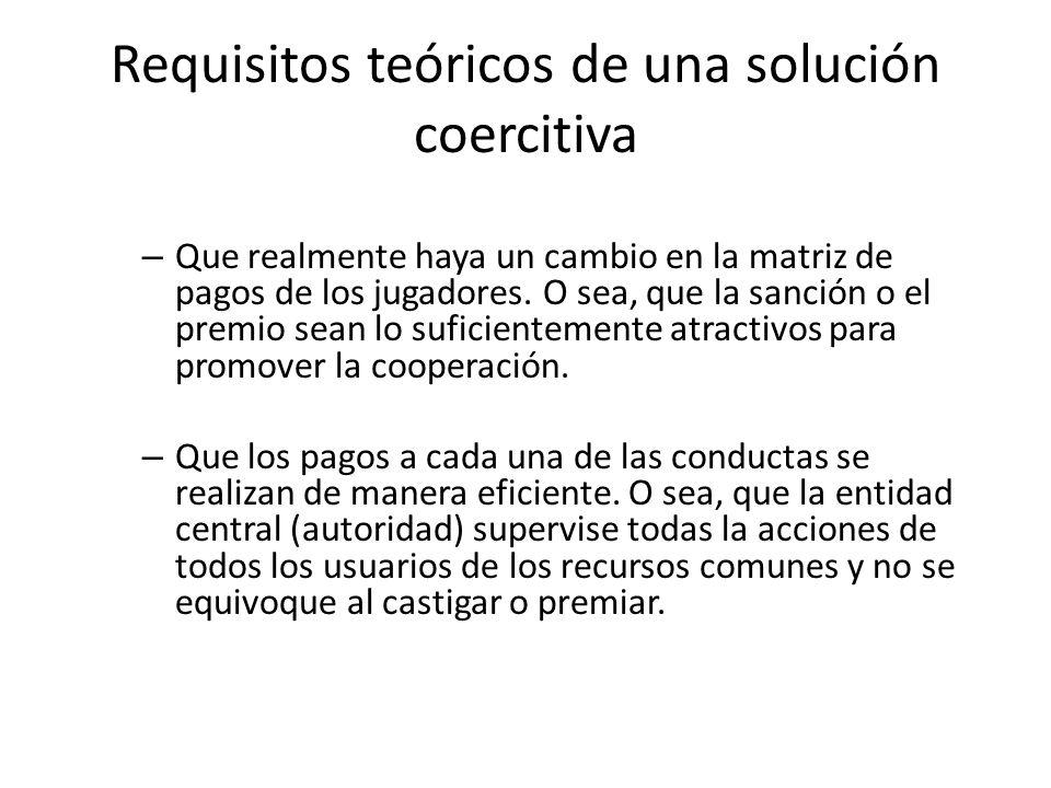 Requisitos teóricos de una solución coercitiva