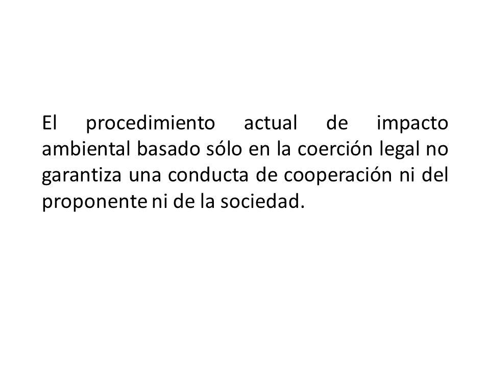 El procedimiento actual de impacto ambiental basado sólo en la coerción legal no garantiza una conducta de cooperación ni del proponente ni de la sociedad.