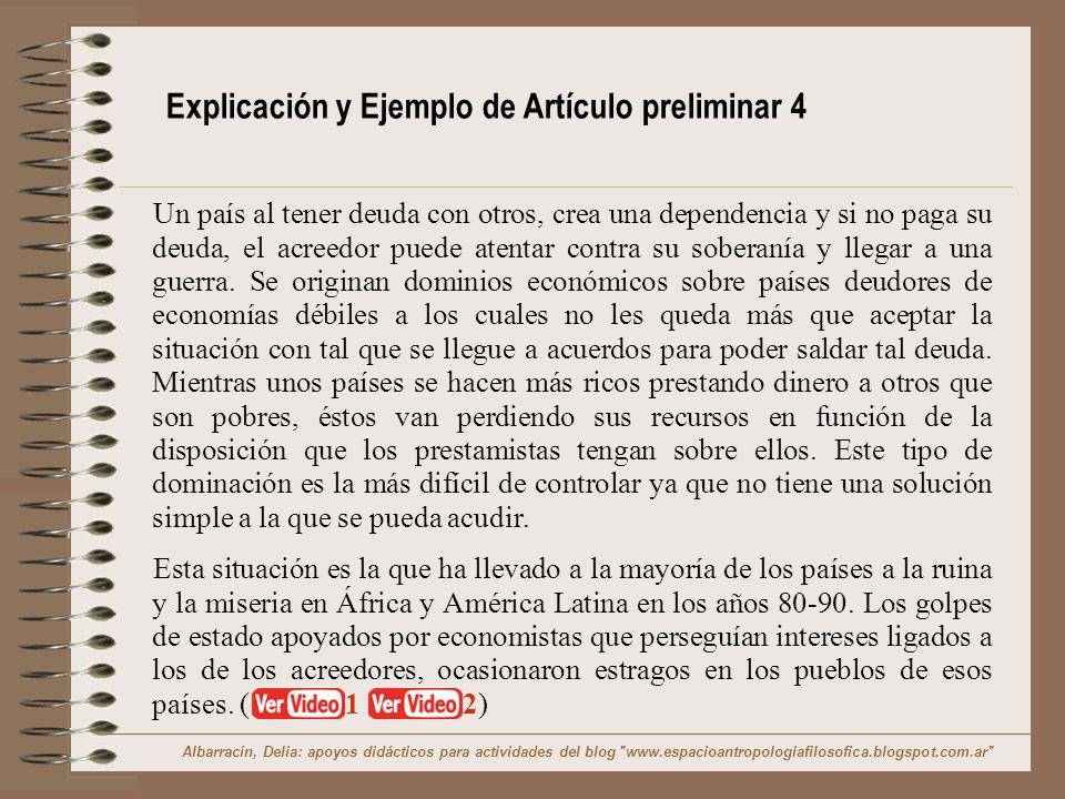 Explicación y Ejemplo de Artículo preliminar 4