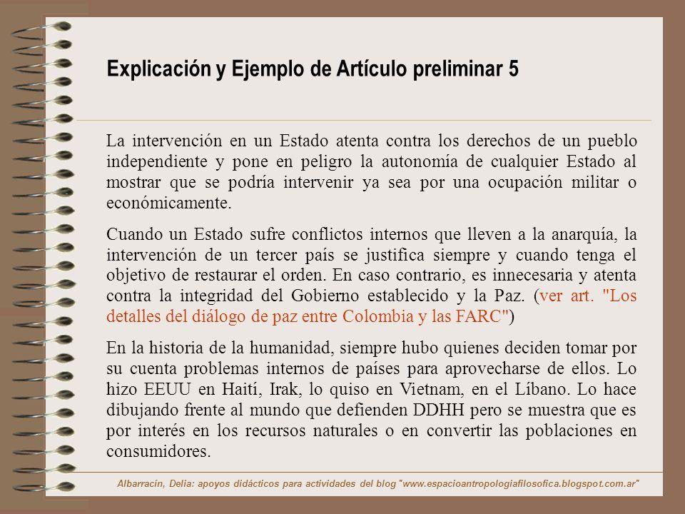 Explicación y Ejemplo de Artículo preliminar 5