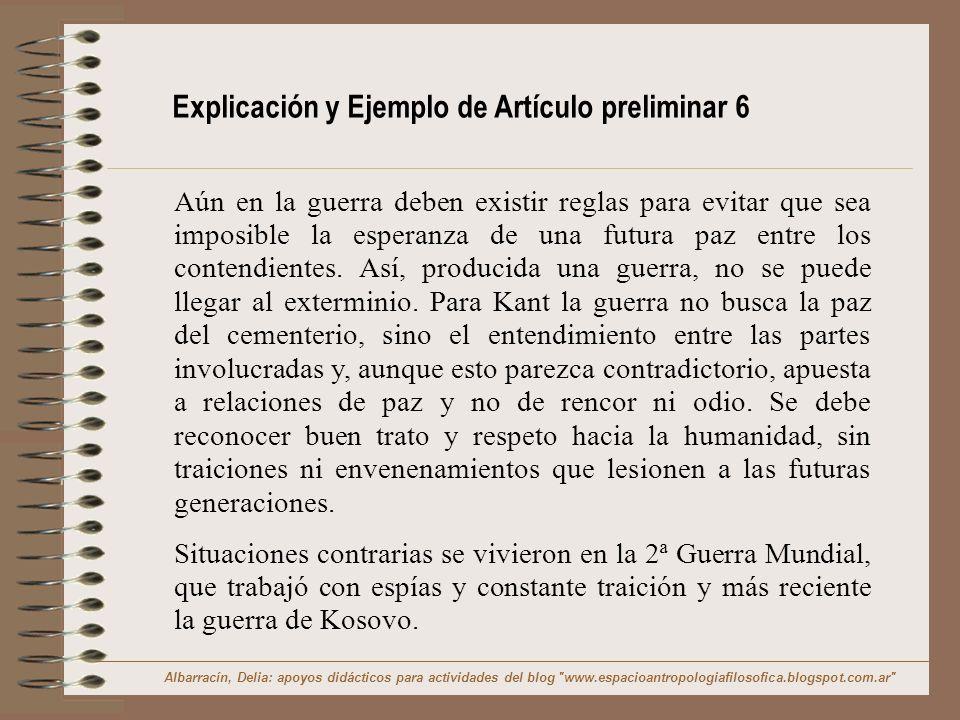 Explicación y Ejemplo de Artículo preliminar 6