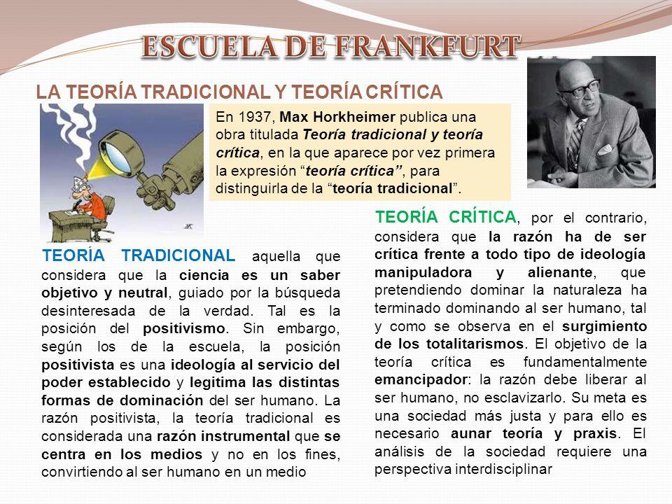 ESCUELA DE FRANKFURT LA TEORÍA TRADICIONAL Y TEORÍA CRÍTICA