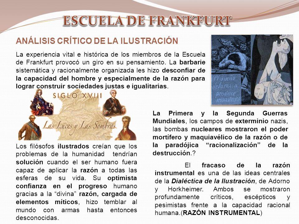 ESCUELA DE FRANKFURT ANÁLISIS CRÍTICO DE LA ILUSTRACIÓN
