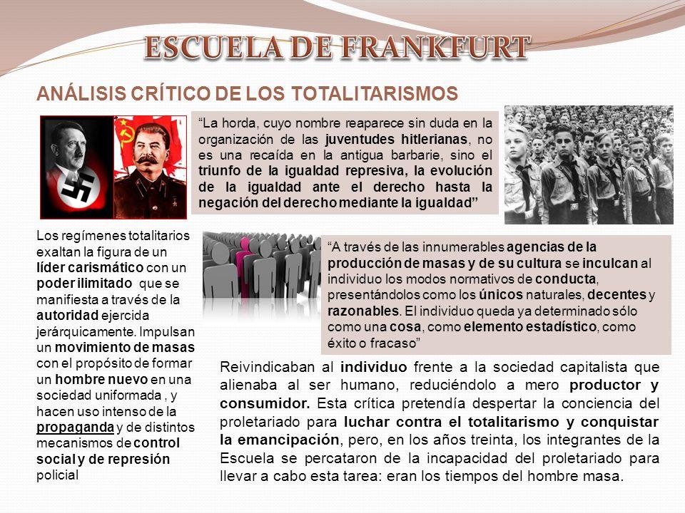 ESCUELA DE FRANKFURT ANÁLISIS CRÍTICO DE LOS TOTALITARISMOS