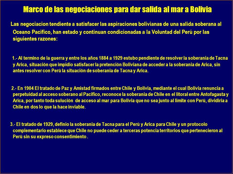 Marco de las negociaciones para dar salida al mar a Bolivia