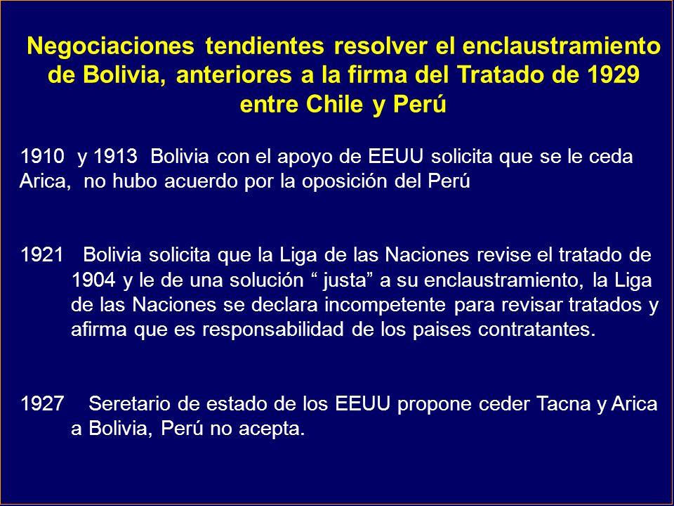 Negociaciones tendientes resolver el enclaustramiento de Bolivia, anteriores a la firma del Tratado de 1929 entre Chile y Perú