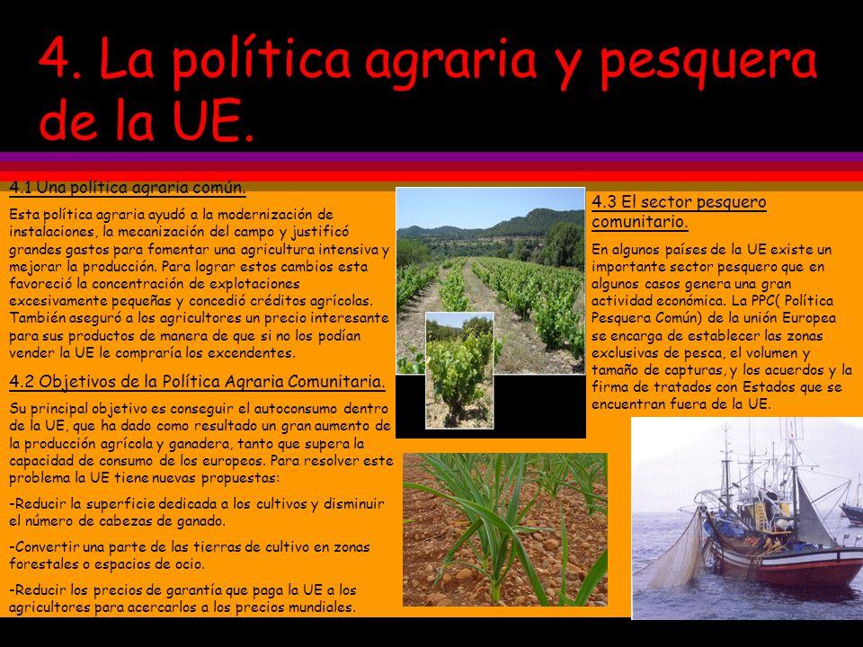 4. La política agraria y pesquera de la UE.