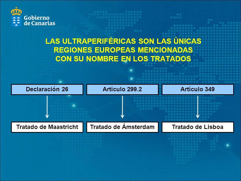 LAS ULTRAPERIFÉRICAS SON LAS ÚNICAS REGIONES EUROPEAS MENCIONADAS CON SU NOMBRE EN LOS TRATADOS