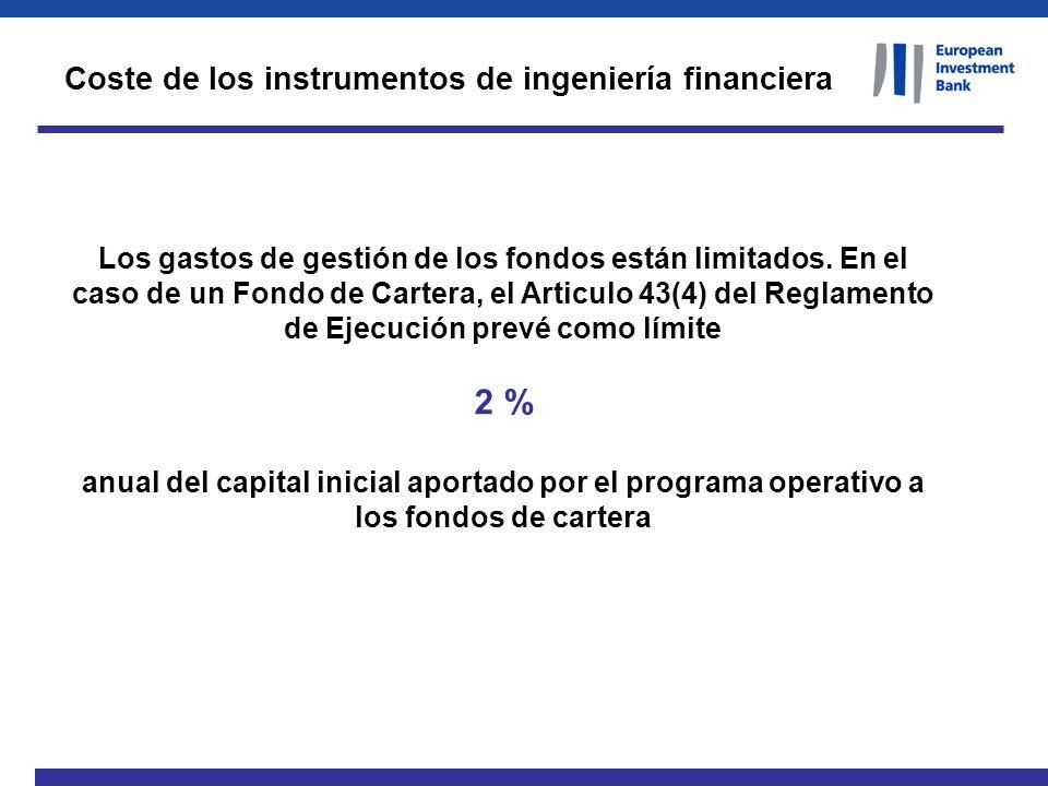 2 % Coste de los instrumentos de ingeniería financiera