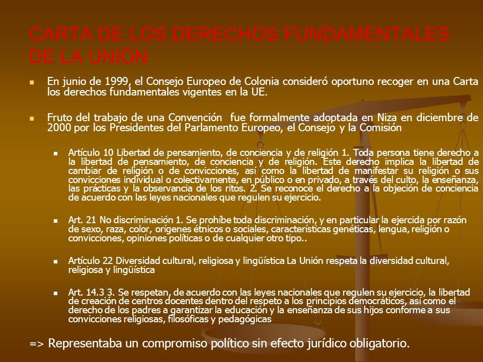CARTA DE LOS DERECHOS FUNDAMENTALES DE LA UNIÓN