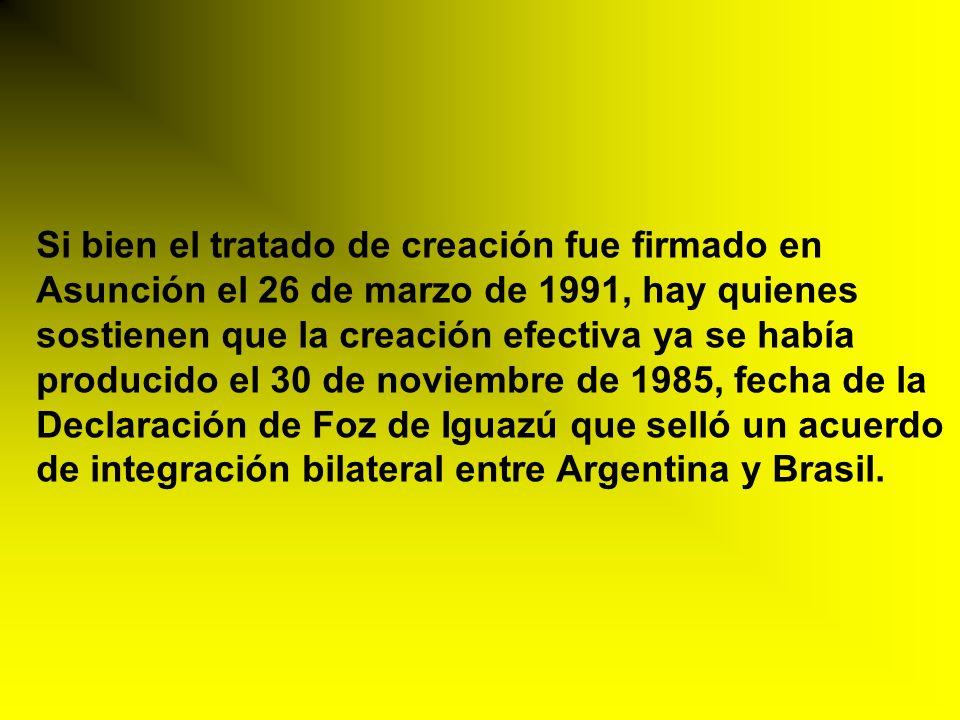 Si bien el tratado de creación fue firmado en Asunción el 26 de marzo de 1991, hay quienes sostienen que la creación efectiva ya se había producido el 30 de noviembre de 1985, fecha de la Declaración de Foz de Iguazú que selló un acuerdo de integración bilateral entre Argentina y Brasil.