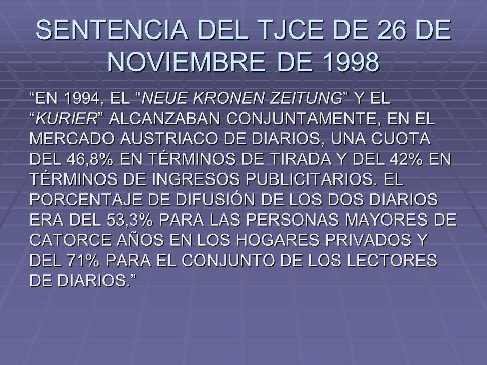SENTENCIA DEL TJCE DE 26 DE NOVIEMBRE DE 1998