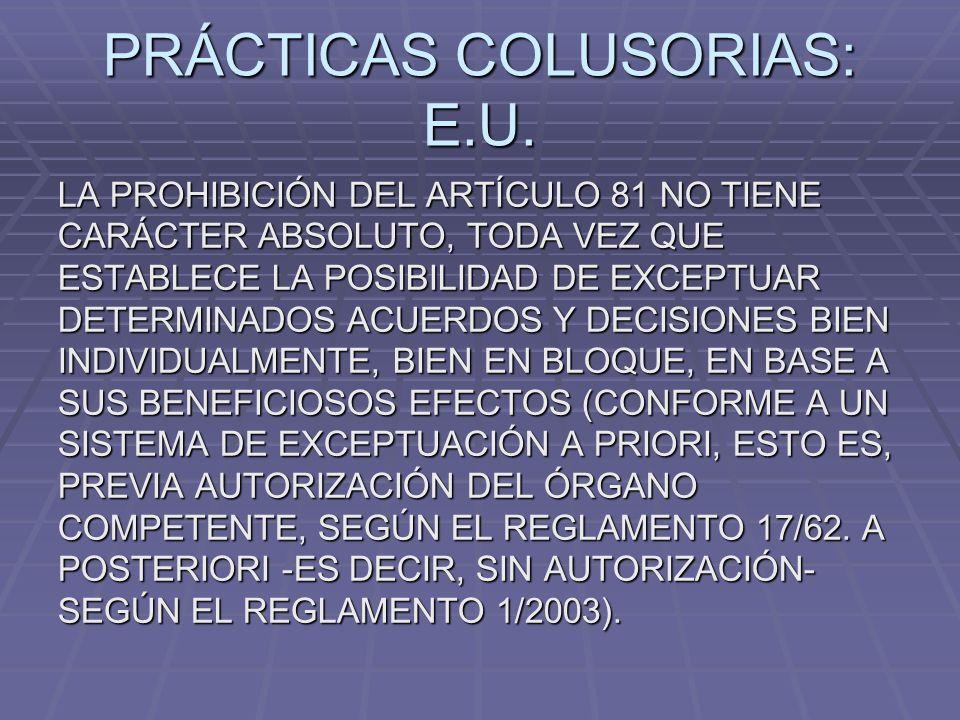 PRÁCTICAS COLUSORIAS: E.U.
