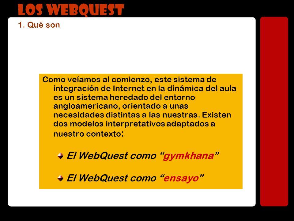 LOS WEBQUEST 1. Qué son El WebQuest como gymkhana