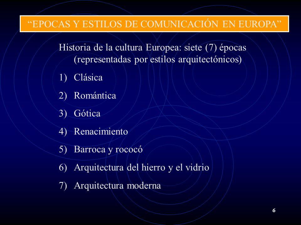 EPOCAS Y ESTILOS DE COMUNICACIÓN EN EUROPA