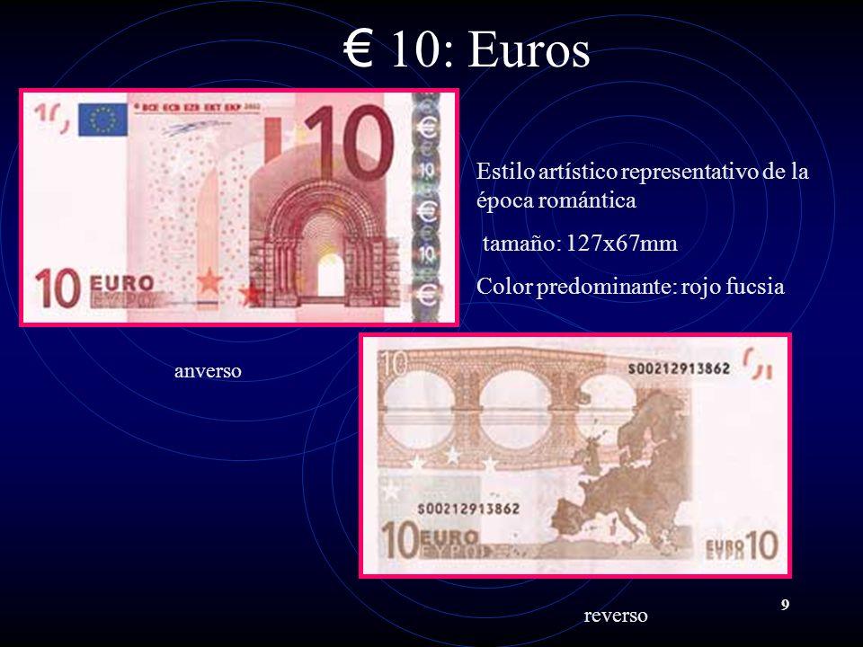 10: Euros Estilo artístico representativo de la época romántica