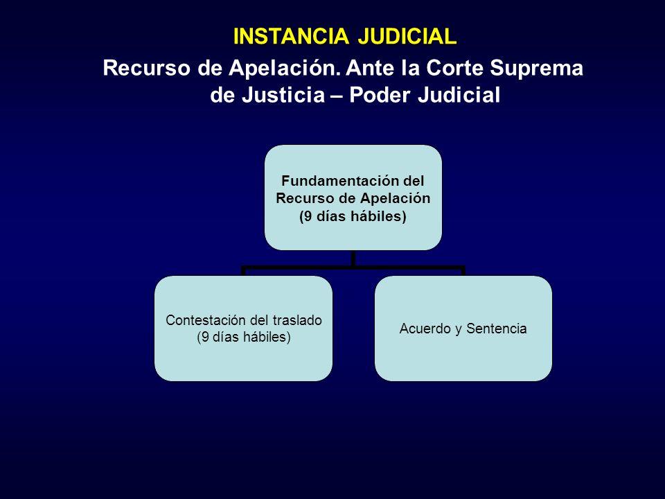 INSTANCIA JUDICIAL Recurso de Apelación. Ante la Corte Suprema de Justicia – Poder Judicial
