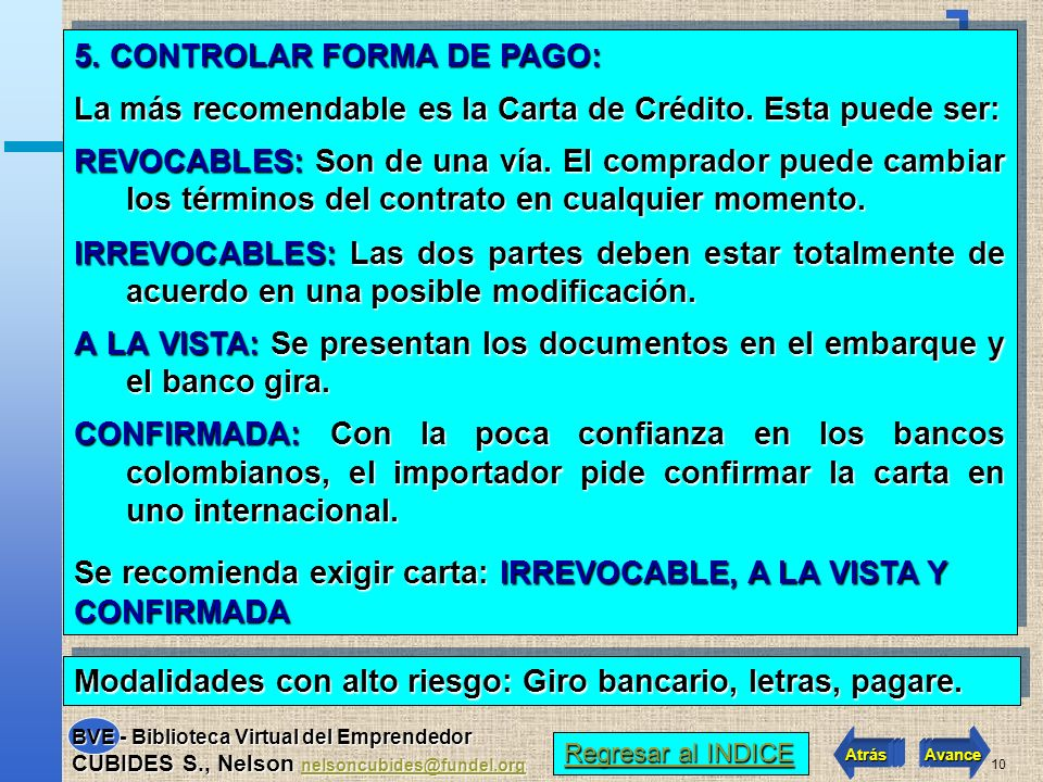 5. CONTROLAR FORMA DE PAGO: