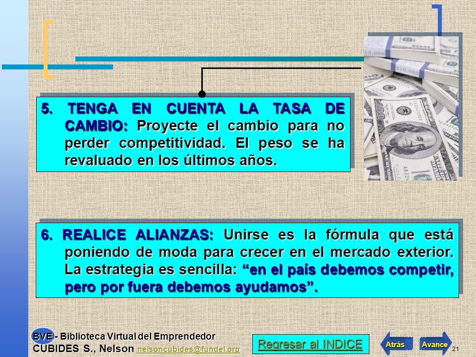 5. TENGA EN CUENTA LA TASA DE CAMBIO: Proyecte el cambio para no perder competitividad. El peso se ha revaluado en los últimos años.