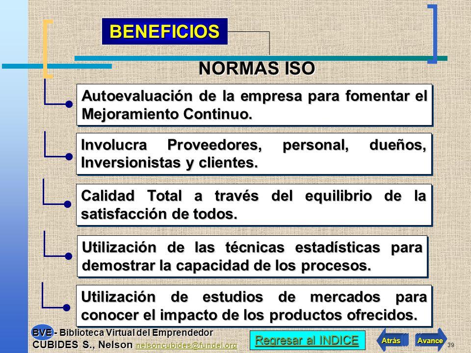 BENEFICIOS NORMAS ISO. Autoevaluación de la empresa para fomentar el Mejoramiento Continuo.