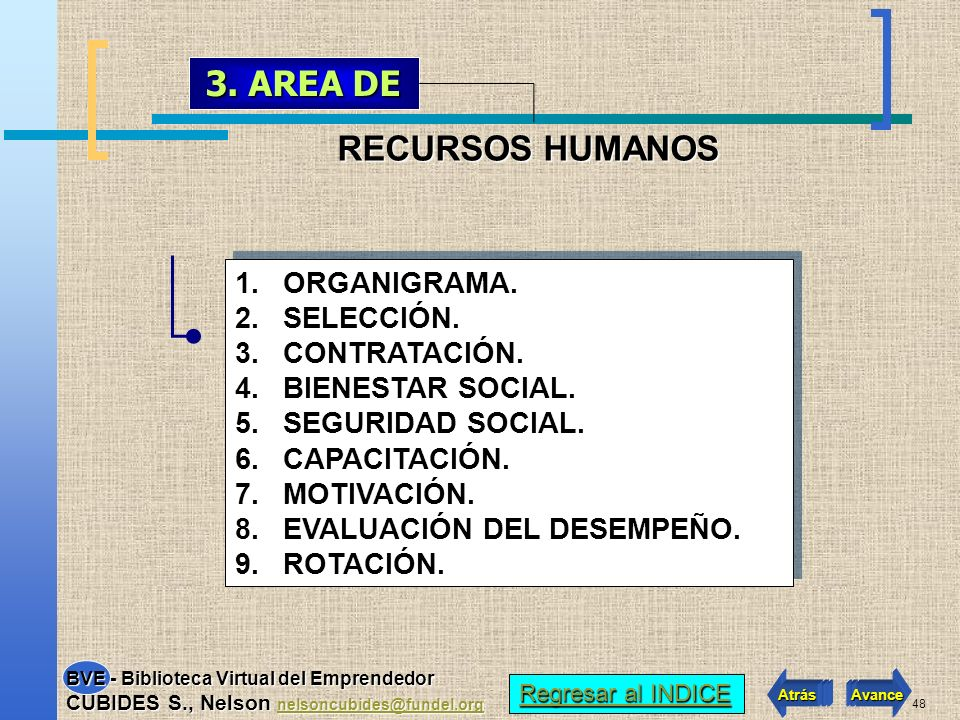 3. AREA DE RECURSOS HUMANOS ORGANIGRAMA. SELECCIÓN. CONTRATACIÓN.