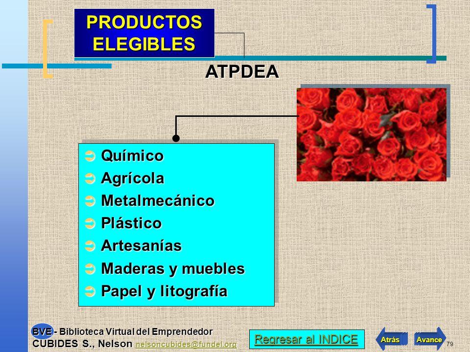 PRODUCTOS ELEGIBLES ATPDEA Químico Agrícola Metalmecánico Plástico