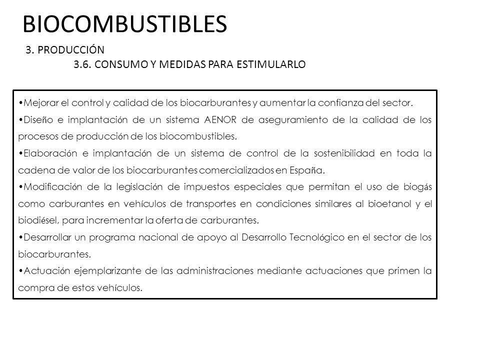 BIOCOMBUSTIBLES 3. PRODUCCIÓN 3.6. CONSUMO Y MEDIDAS PARA ESTIMULARLO