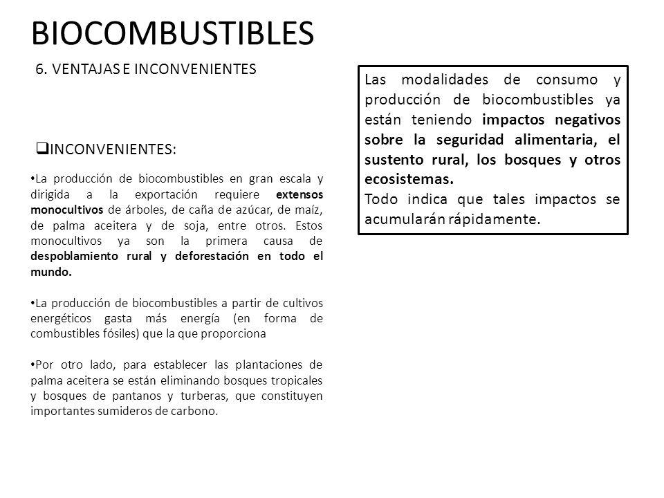 BIOCOMBUSTIBLES 6. VENTAJAS E INCONVENIENTES