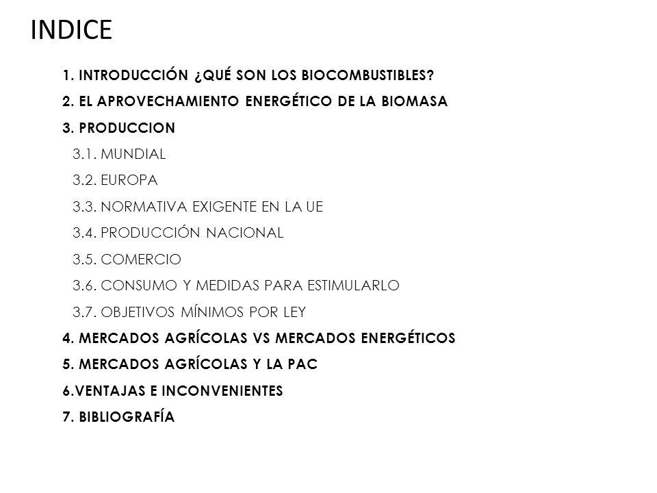 INDICE 1. INTRODUCCIÓN ¿QUÉ SON LOS BIOCOMBUSTIBLES