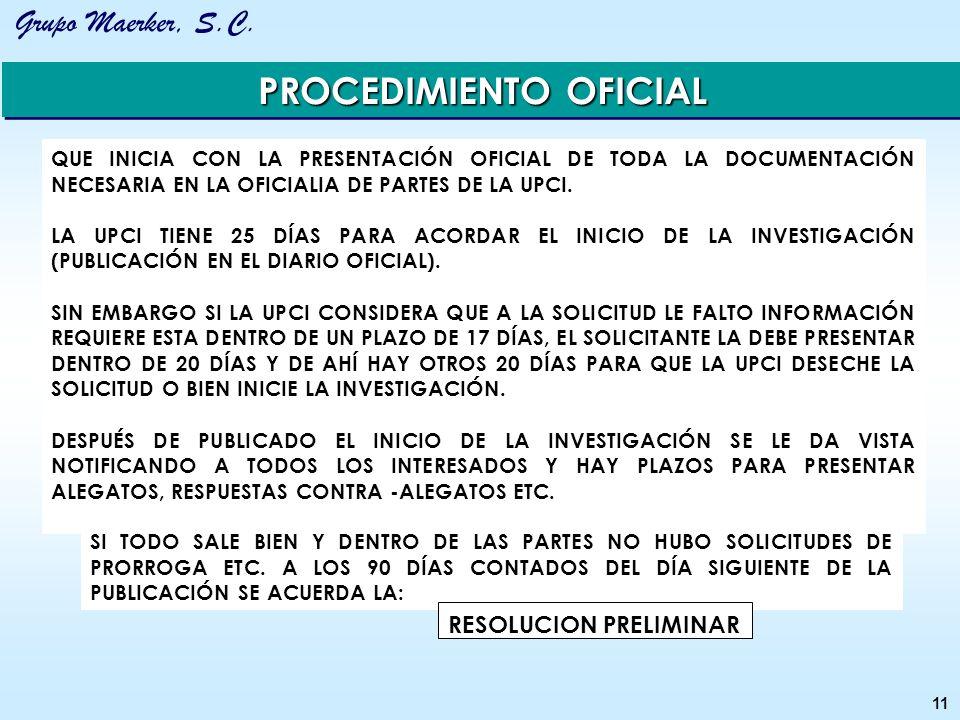 PROCEDIMIENTO OFICIAL RESOLUCION PRELIMINAR