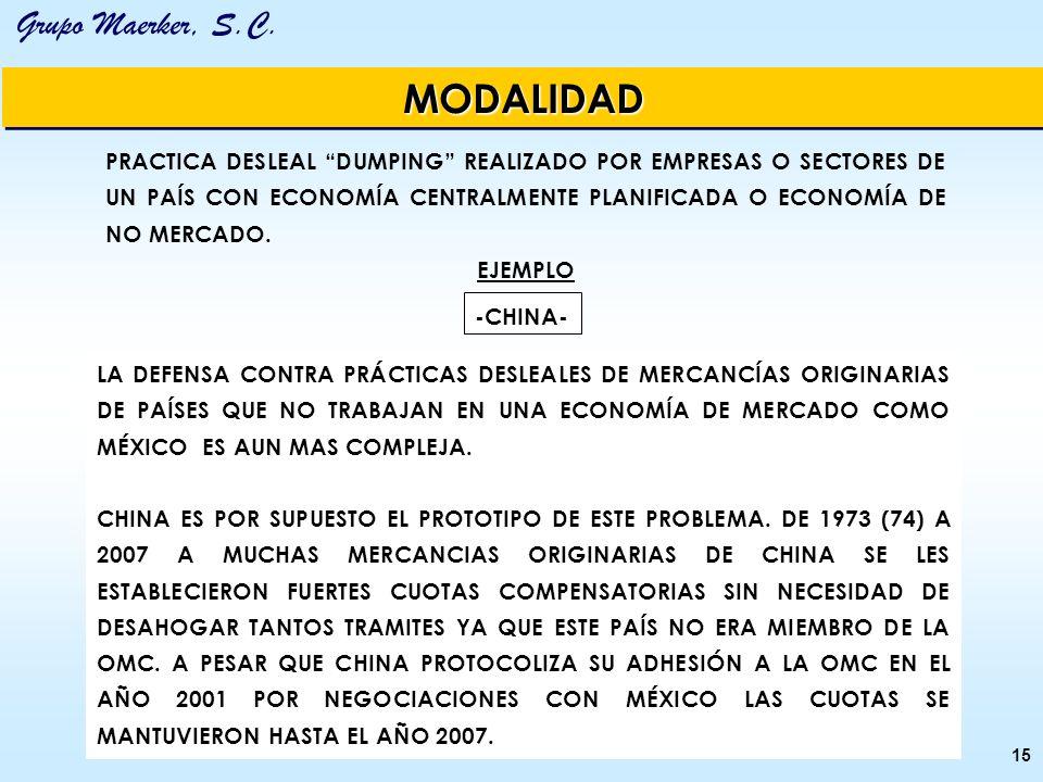 MODALIDAD PRACTICA DESLEAL DUMPING REALIZADO POR EMPRESAS O SECTORES DE UN PAÍS CON ECONOMÍA CENTRALMENTE PLANIFICADA O ECONOMÍA DE NO MERCADO.