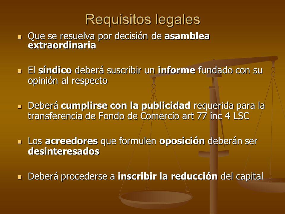 Requisitos legales Que se resuelva por decisión de asamblea extraordinaria.