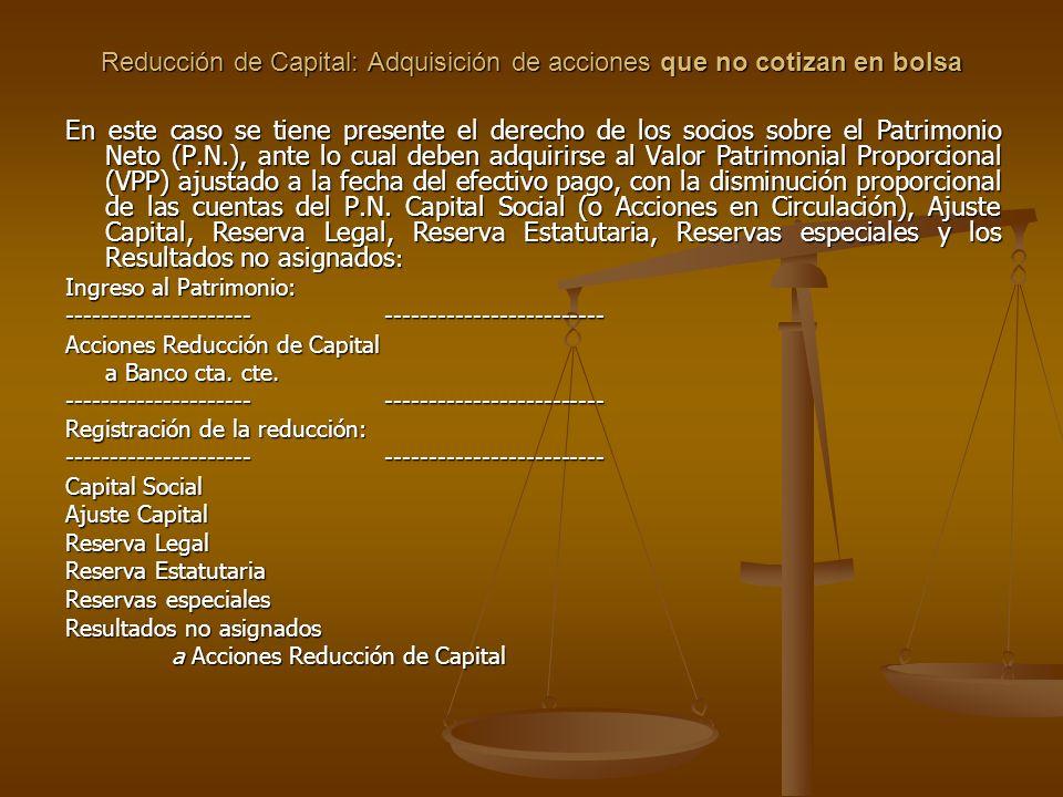 Reducción de Capital: Adquisición de acciones que no cotizan en bolsa