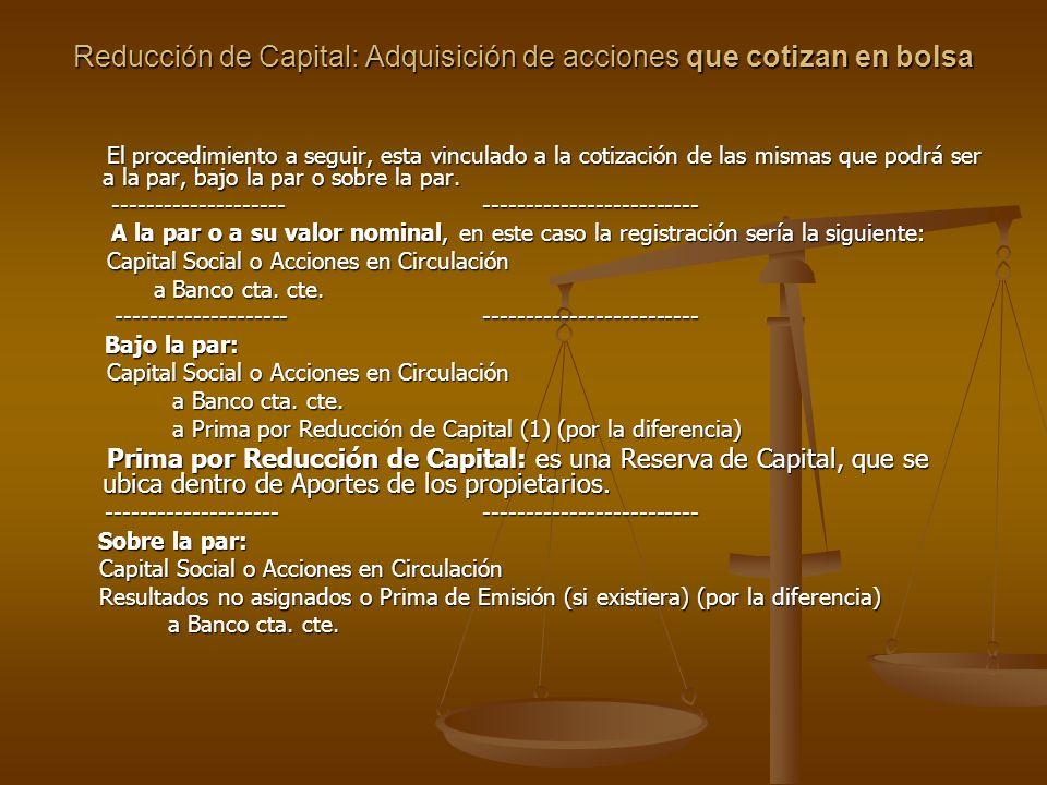 Reducción de Capital: Adquisición de acciones que cotizan en bolsa