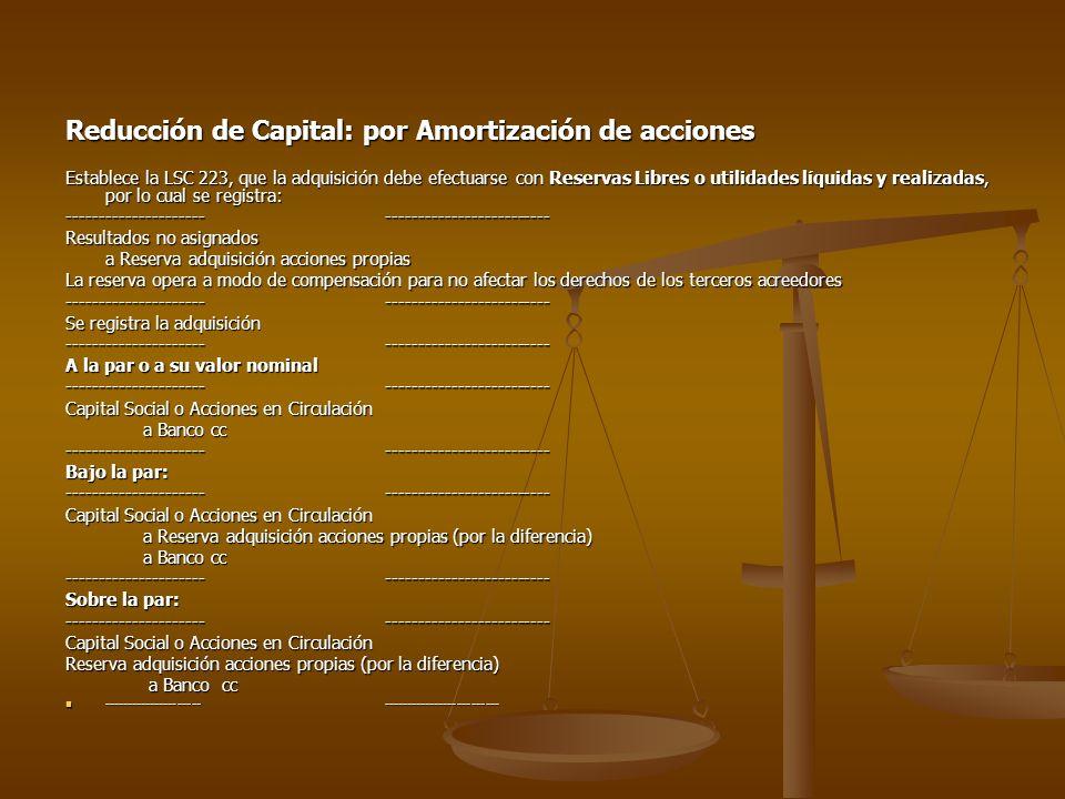 Reducción de Capital: por Amortización de acciones