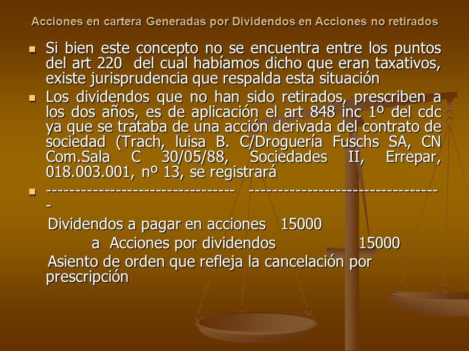 Acciones en cartera Generadas por Dividendos en Acciones no retirados