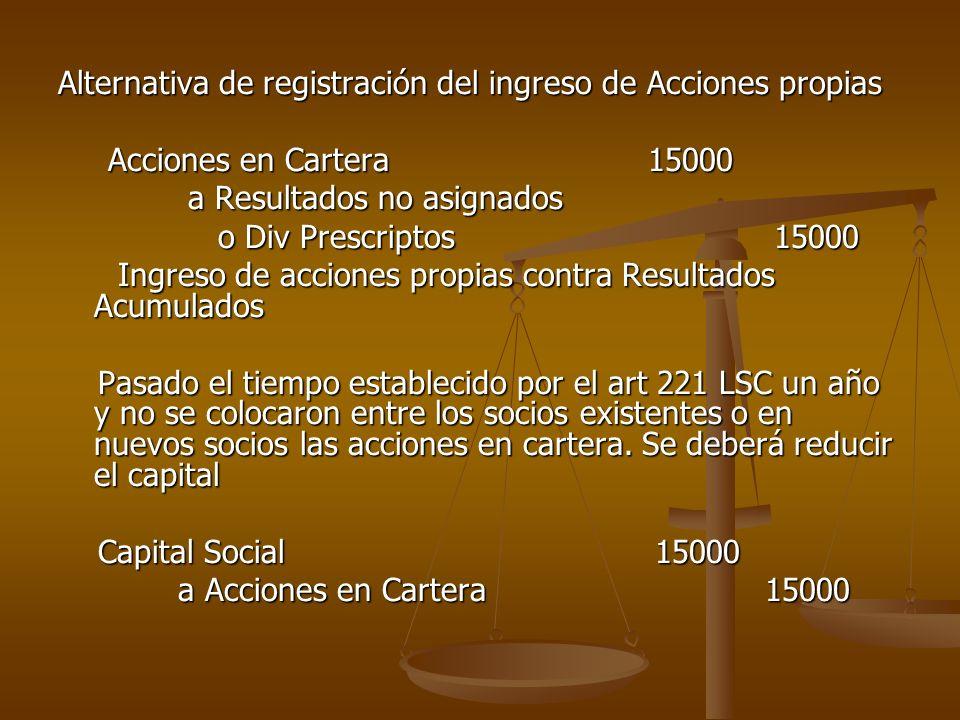 Alternativa de registración del ingreso de Acciones propias