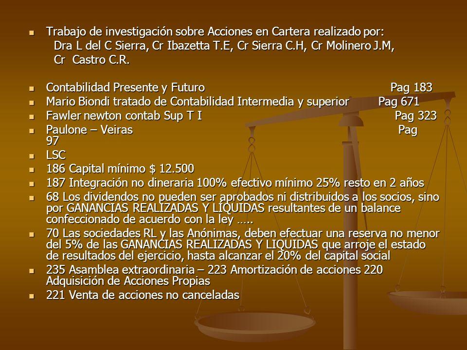 Trabajo de investigación sobre Acciones en Cartera realizado por: