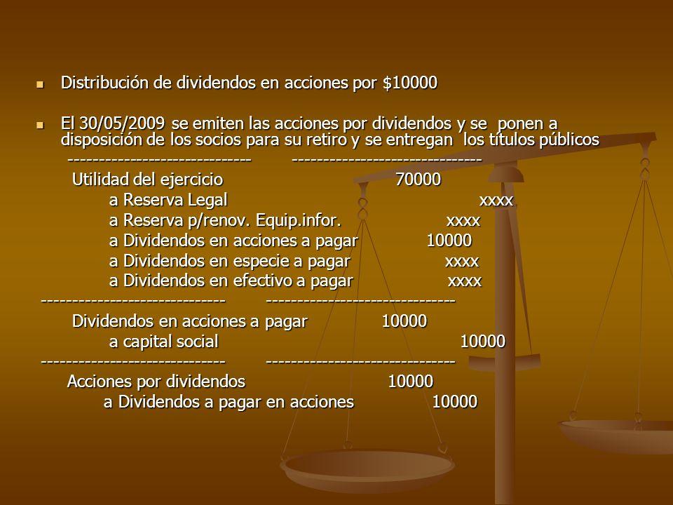 Distribución de dividendos en acciones por $10000