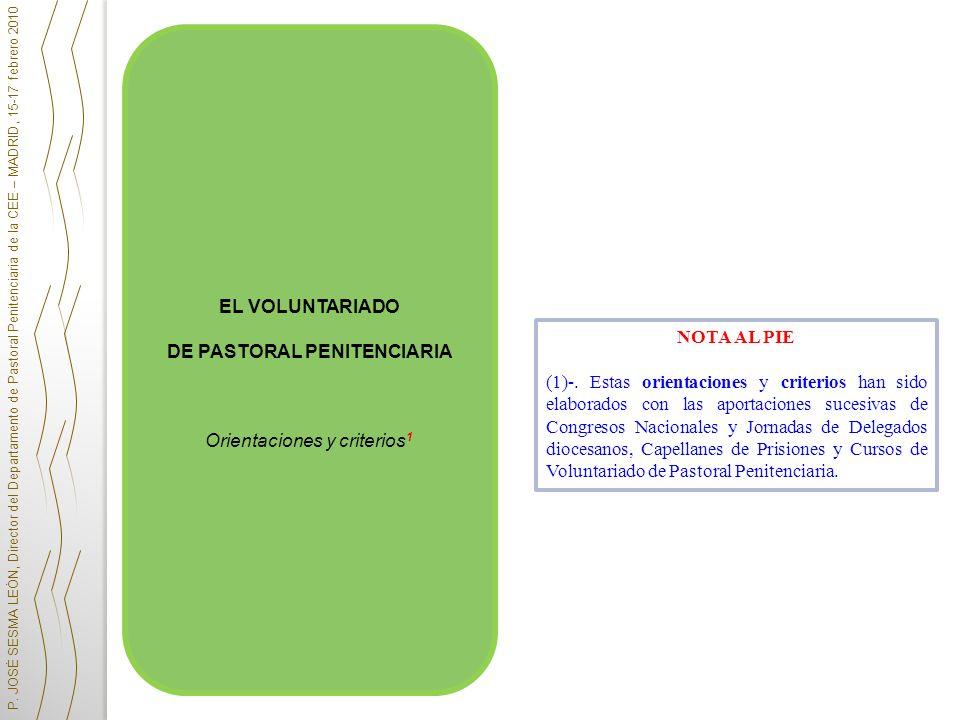 DE PASTORAL PENITENCIARIA