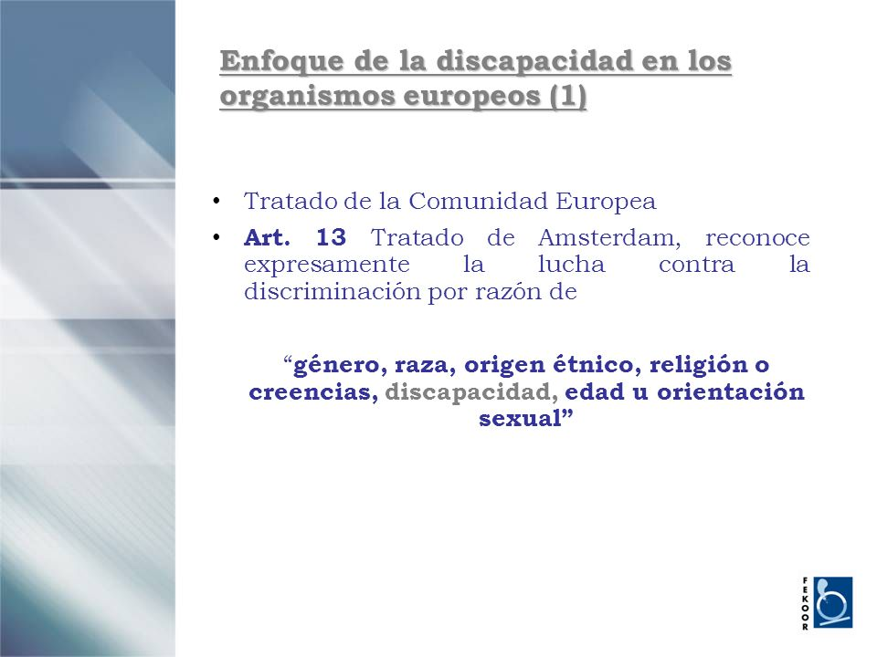 Enfoque de la discapacidad en los organismos europeos (1)