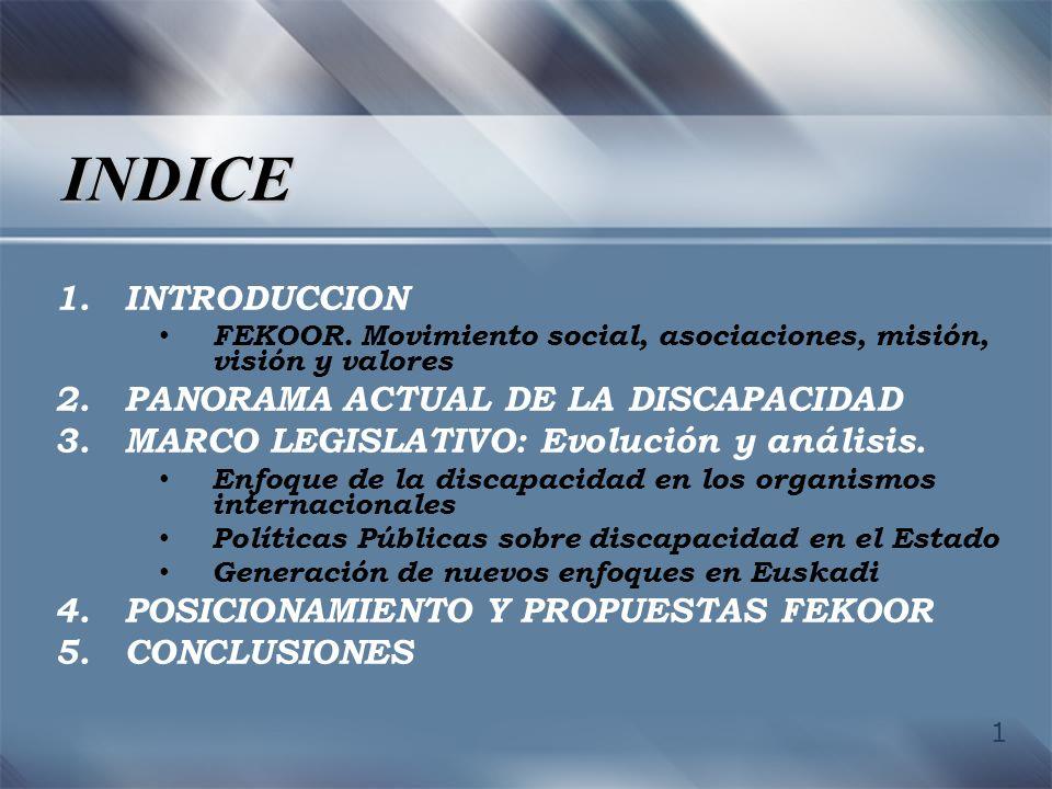 INDICE INTRODUCCION PANORAMA ACTUAL DE LA DISCAPACIDAD