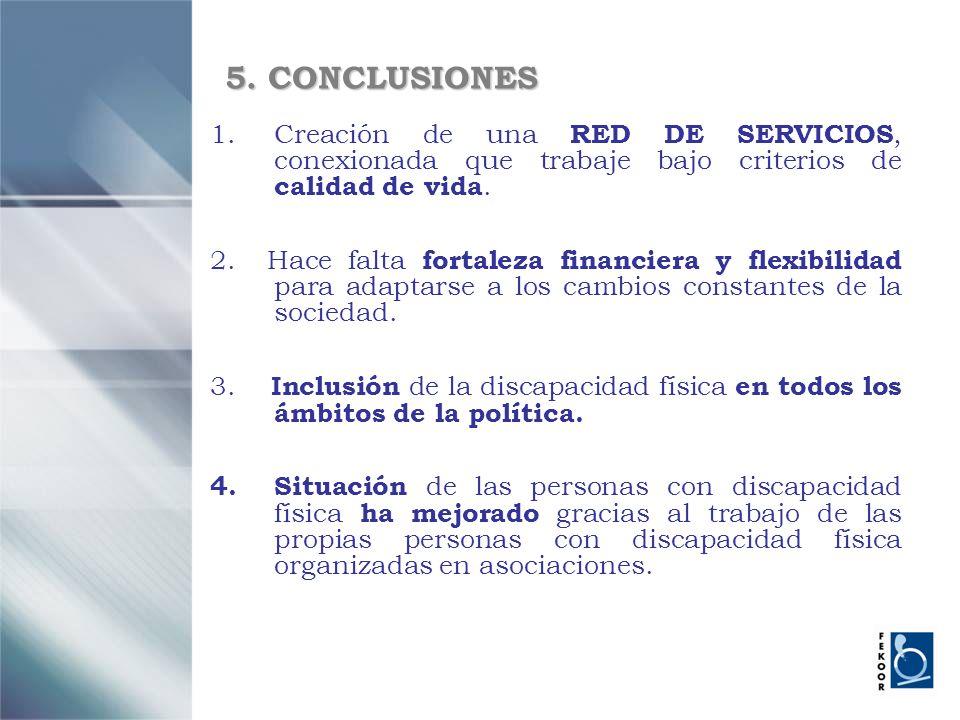 5. CONCLUSIONES Creación de una RED DE SERVICIOS, conexionada que trabaje bajo criterios de calidad de vida.