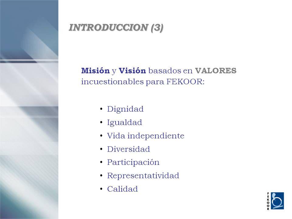 INTRODUCCION (3) Misión y Visión basados en VALORES incuestionables para FEKOOR: Dignidad. Igualdad.
