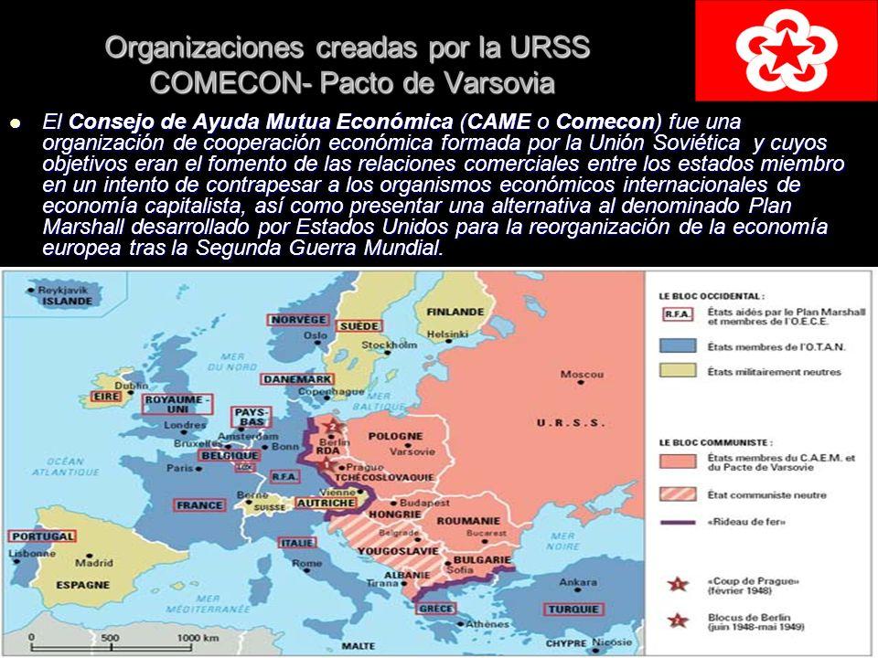 Organizaciones creadas por la URSS COMECON- Pacto de Varsovia