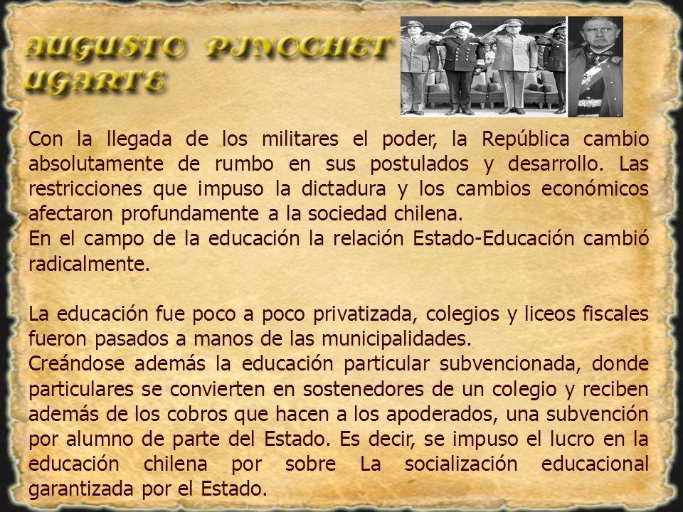 Con la llegada de los militares el poder, la República cambio absolutamente de rumbo en sus postulados y desarrollo. Las restricciones que impuso la dictadura y los cambios económicos afectaron profundamente a la sociedad chilena.