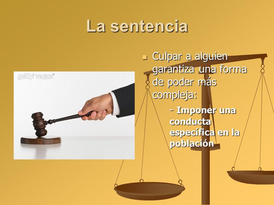 La sentencia Culpar a alguien garantiza una forma de poder más compleja: - Imponer una conducta específica en la población.