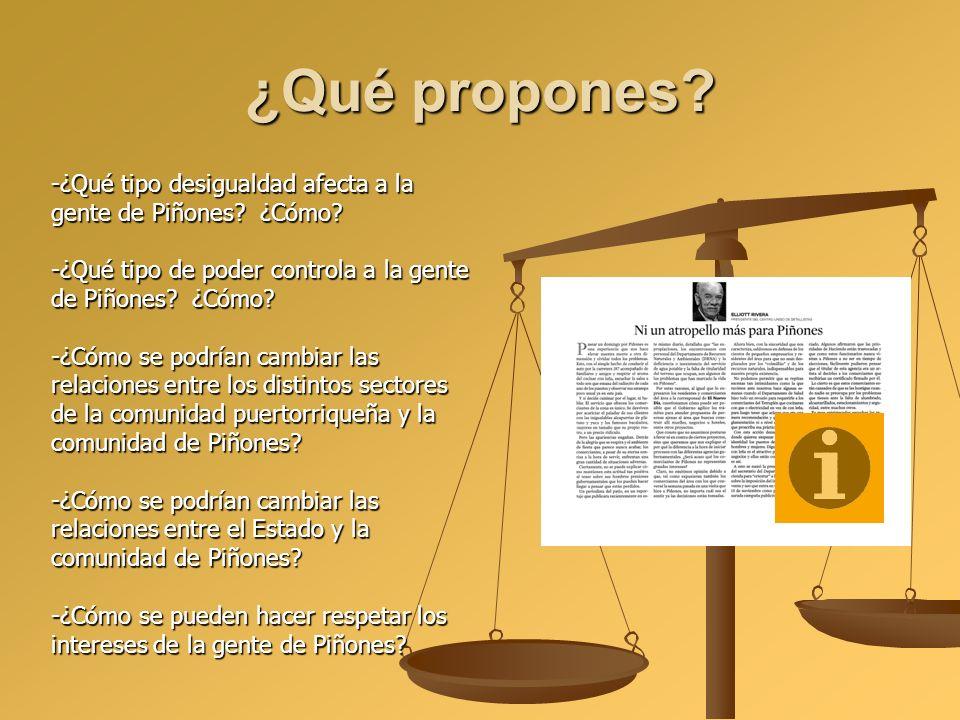 ¿Qué propones -¿Qué tipo desigualdad afecta a la gente de Piñones ¿Cómo -¿Qué tipo de poder controla a la gente de Piñones ¿Cómo