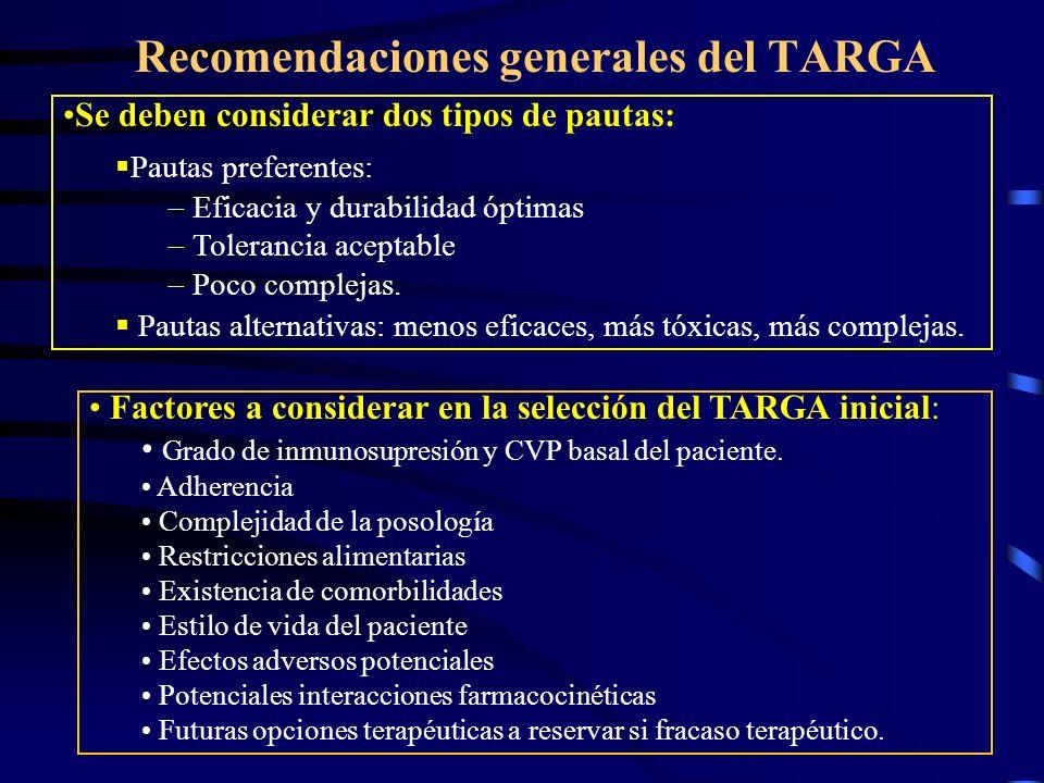 Recomendaciones generales del TARGA